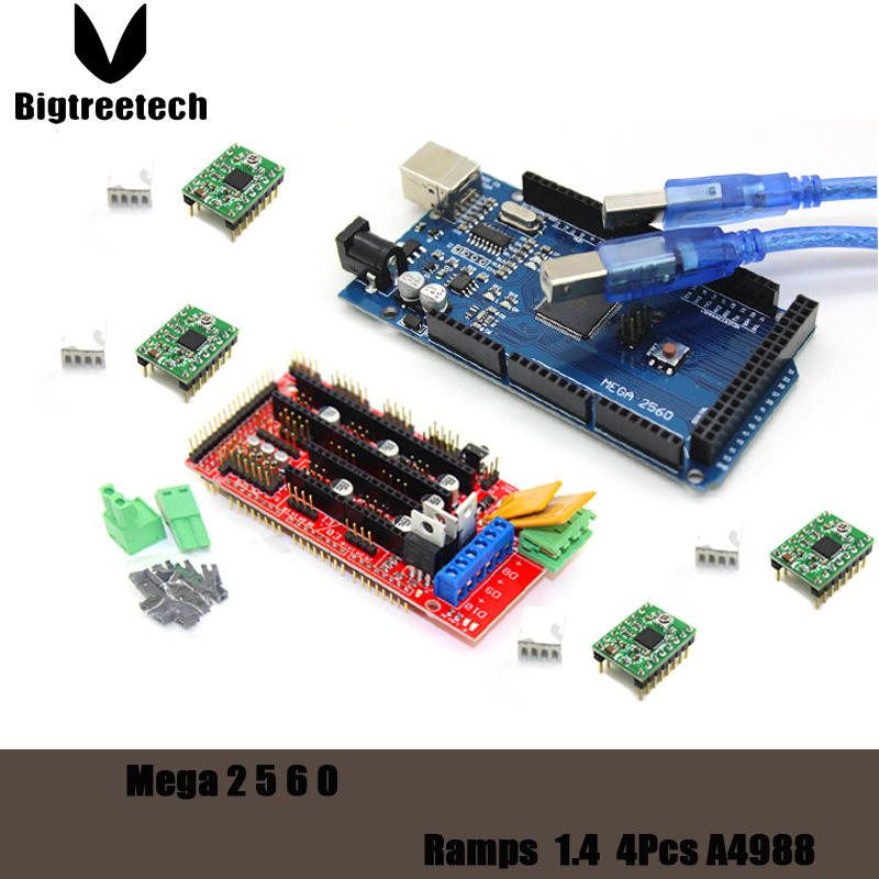 3D Printer kit Reprap MendelPrusa Mega 2560 R3 for arduino + 1pcs RAMPS 1.4 Controller + 4pcs A4988 Stepper Driver Module