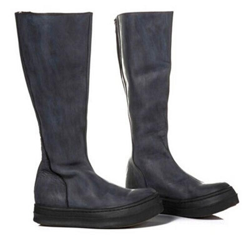 High British style zipper fashion flat winter Snowfield knight  boots fashion motorcycle Boots