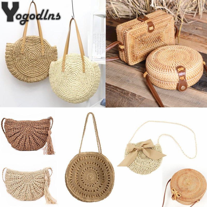 Wicker Tote Shoulder-Bag Bohemian Handbag Square Woven Handmade Simple-Straw Large-Capacity