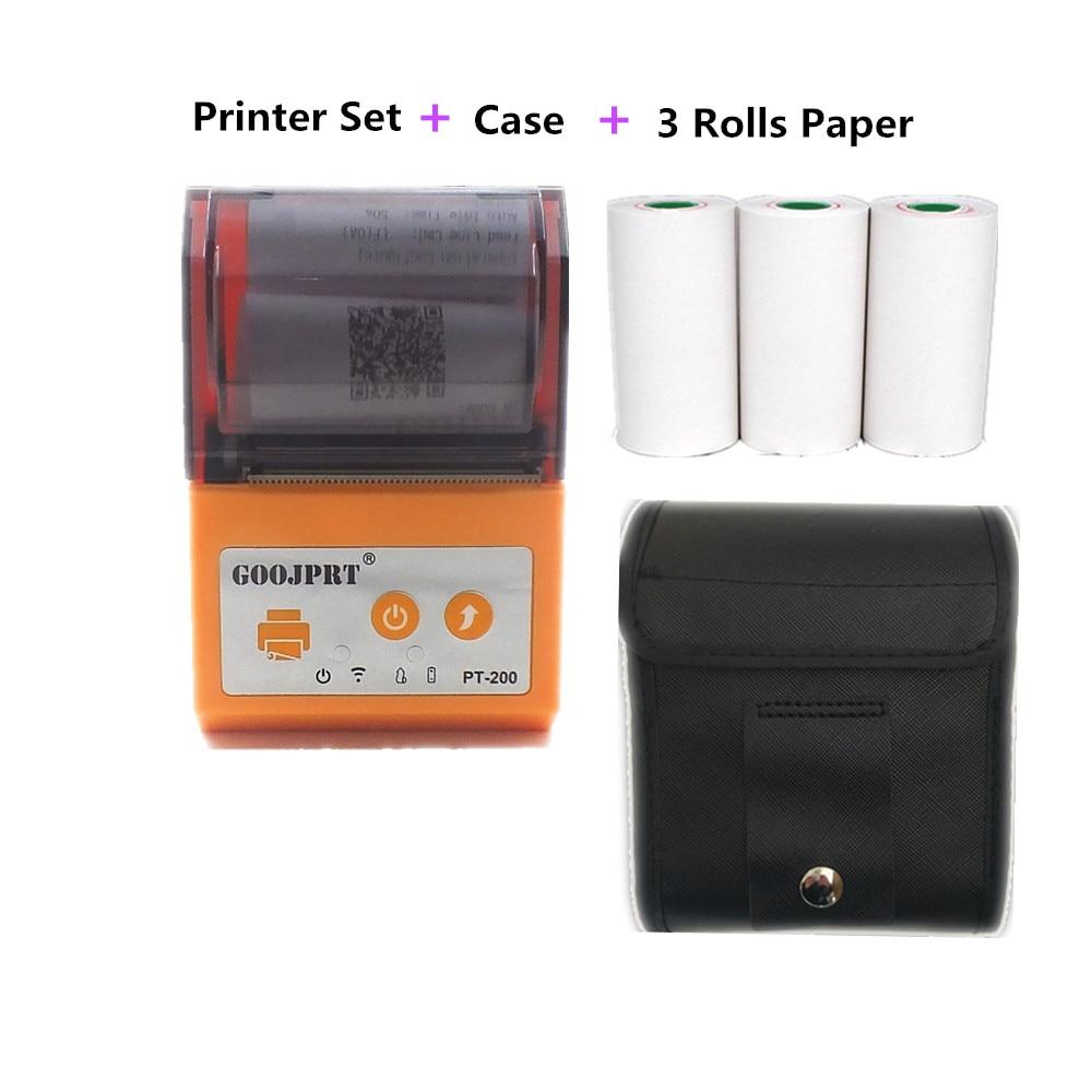 Orange PT200 Mini Palm size wireless bluetooth receipt ticket printers plus case and paper