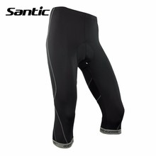 Santic 3/4 Men Women 3D Anti-Slip Padded Gel Cycling Shorts Tight Elastic Fit Bike Black Wear For Outdoor MTB Bicycle Clothing