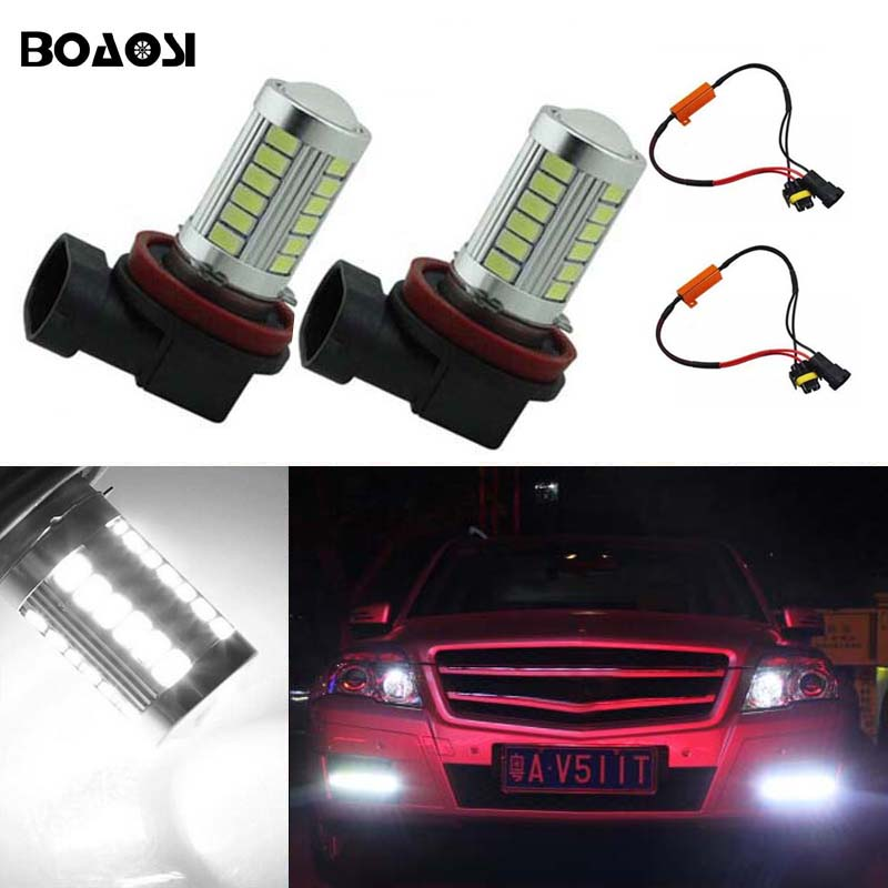 BOAOSI 2x H11 H8 LED canbus Bulbs Reflector Mirror Design For Fog Lights No Error For Mercedes Benz W211 W212 W164 W221 boaosi 1x 9006 hb4 led canbus fog lights no error for volkswagen golf 6 mk6 2009 2012 scirocco 08 on t5 transporter 2003 2016