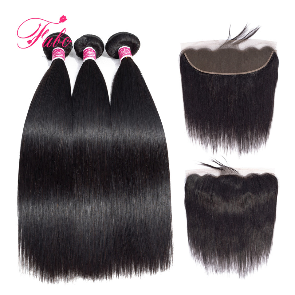 FABC Hair Straight Malaysian Hair Bundles With Closure 13 4 Lace Frontal Non Remy Human Hair