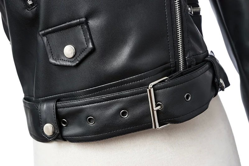 Black Zipper Long Sleeve Motorcycle Punk Faux Soft Leather Jacket Coat 6