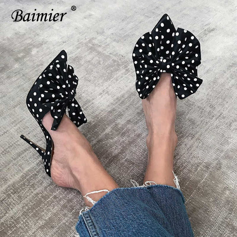 Baimier Summer Fashion Polka Dot High Heel Women Sandals Black Bow Tie Pointed Toe Women Pumps Thin Heel Women Mules Dress Shoes