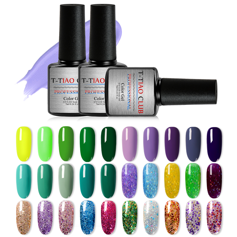 T-TIAO CLUB Gel Nail Polish 296 Colors Glitter Starry Gel Polish Soak Off UV Manicure Gel for Nail Varnish DIY Nail Art Lacquer moulin à sel et poivre