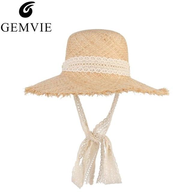 Simple Fashion Women Summer Hats Large Raffia Straw Hat Lace Ribbon Lace-Up Beach  Caps Fashion Ladies Panama Sun Hat 6acdeb5f7b69