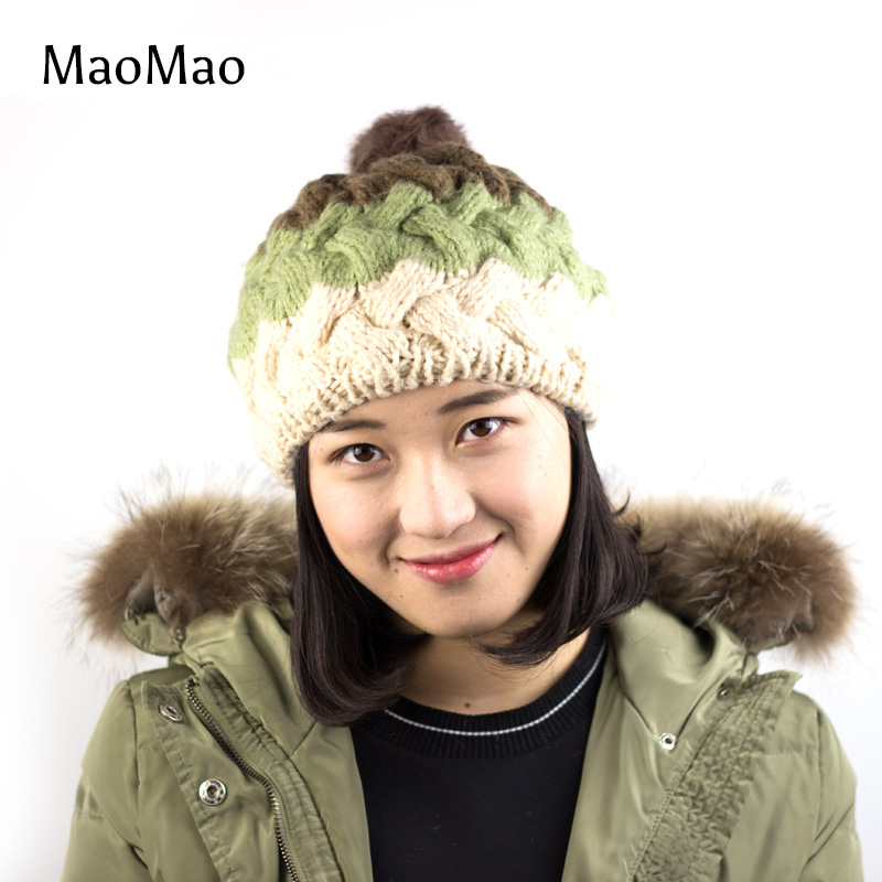New 2016 Winter Hat for Women Bonnets Knitted Wool Caps Shag Line Warm Hat Multicolor Coarse lines Skullies Beanie Hat-WH007-A-M new 2016 winter hat for women bonnets knitted wool caps shag line warm hat multicolor coarse lines skullies beanie hat wh007 a m