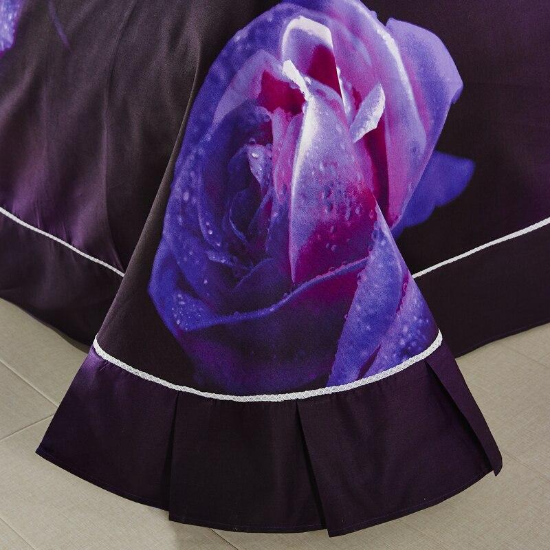 PAPA&MIMA bedding set 4pcs queen size 100% cotton purple rose flowers 3D printed bed sheet duvet cover set pillow sham - 3
