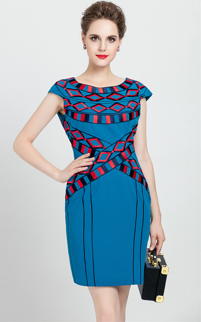 219a47e6cb45 Vintage Embroidery Women Sheath Dress Cap-Sleeve Mini Dresses 0816140