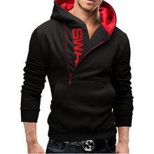 Brand 2019 Hoodie Sweatshirt Oblique Zipper Solid Color Men Fashion Tracksuit Mens Clothing Wholesale M-6XL