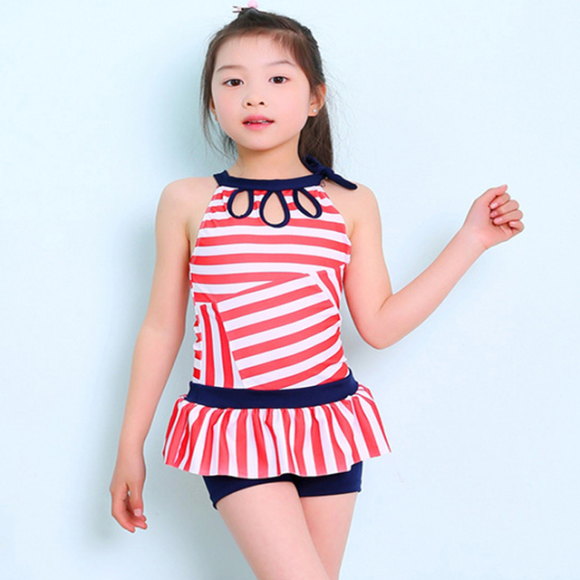 1ef020713 Swimming Clothes For Children Girl One Piece Swinsuit Striped Polyester Swimming  Bathing Suits Baby Girls Swimwear Kids Bodysuit