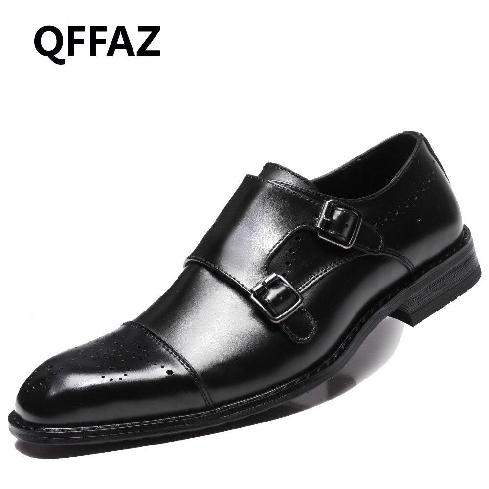 QFFAZ Men Casual Shoes Luxury Genuine Leather Formal Dress Oxford Shoes Double Monk Buckle Straps Wedding Brogues Shoes