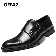 QFFAZ Men Casual Shoes Luxury Genuine Leather Formal Dress Oxford Shoes Double Monk Buckle Straps Wedding Brogues Shoes