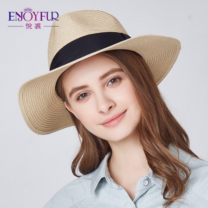 Enjoyfur Frauen Sommer Sonne Hut Unisex Panama Hut 2019 Neue Ankunft Mode Stroh Strand Cap Sonnenhüte Bekleidung Zubehör
