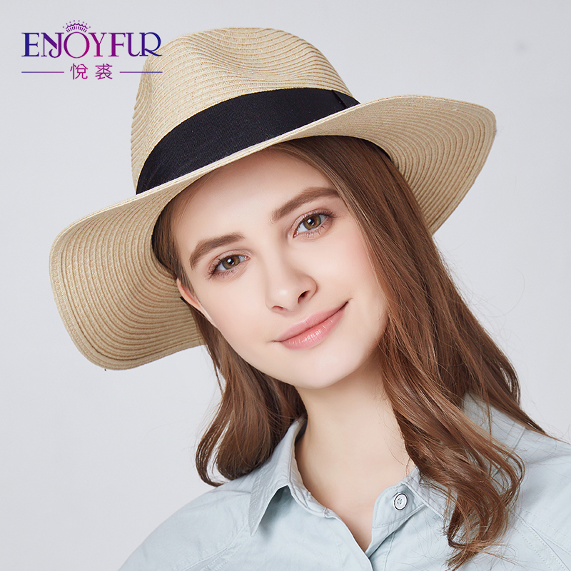 ENJOYFUR Women Summer Sun Hat Unisex Panama Hat 2019 New Arrival Fashion Straw Beach Cap