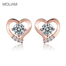 MOLIAM Fashion Love Heart Earrings Jewelry Rose Gold Color Cubic Zirconia Crystal Stones Stud Earrings Female