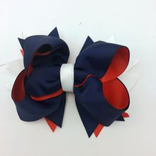1PC 5Inch Girls Hair Bows 4th Of July Boutique Ribbon Fastion Polyester Hairpins Kids Accessories