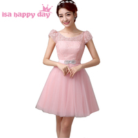 pink cap sleeve modest girls short modest fancy lace tulle party dresses knee length ivory dress for teens formal B2764