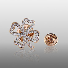 Free Shipping Women Gold Small Rhinestone Clover Brooch pins For Wedding and Party Dresses,Bride pins,Ladies Brooch for mother