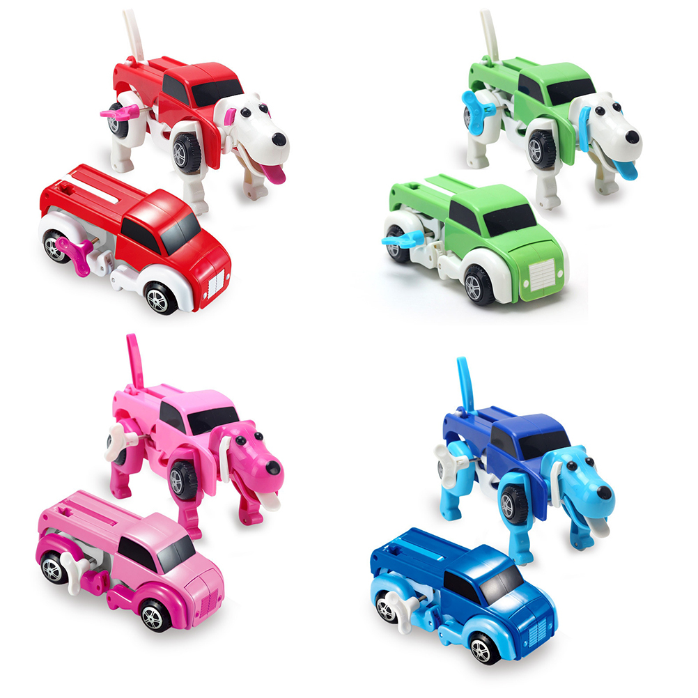 4 colors 14cm baby cool automatic transform dog car vehicle clockwork wind up toy for children