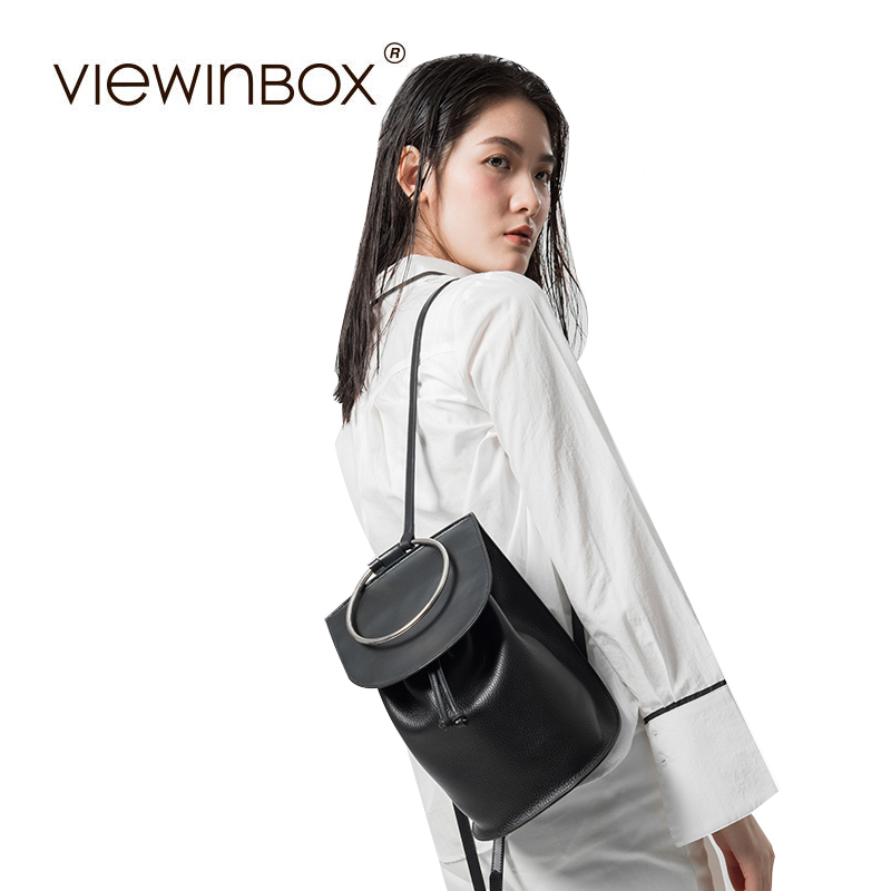 Viewinbox Genuine Leather Women Black Backpack Preppy Style Backpack Girls School Bags Fashion Cusual Women Bags hot sale women s backpack the oil wax of cowhide leather backpack women casual gentlewoman small bags genuine leather school bag
