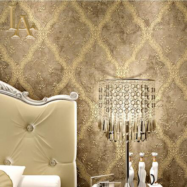 Vintage European Luxury Wall Decor Modern Wallpaper Simple Embossed Bedroom Sofa Tv Background Beige Brown