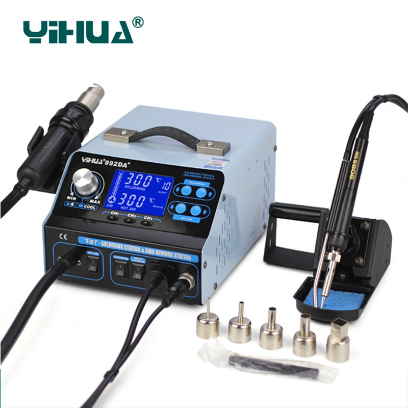 цена на YiHua 992DA+ 4 In 1 Hot Air Rework Soldering Iron Station Digital Display Smoke Vacuum BGA Soldering Rework Station EU Plug