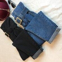 S-5XL размера плюс, новые модные женские джинсы с поясом, женские одноцветные плотные обычные штаны с высокой талией, узкие длинные брюки для студентов