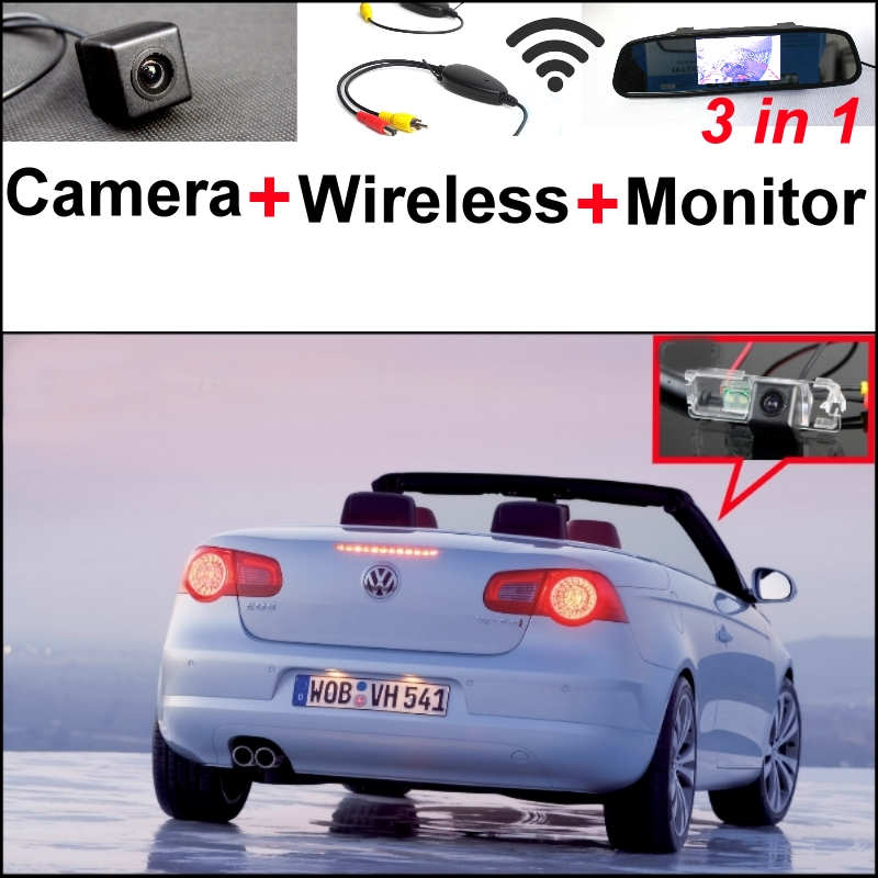 3 in1 Special Wifi Camera + Wireless Receiver + Mirror Monitor DIY Back Up Parking System For VW Volkswagen EOS 2006~2009 wireless pager system 433 92mhz wireless restaurant table buzzer with monitor and watch receiver 3 display 42 call button