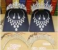 2017 больше стиля Люкс Свадебное Комплект Ювелирных Изделий Горный Хрусталь Крона тиары Серьги Ожерелья