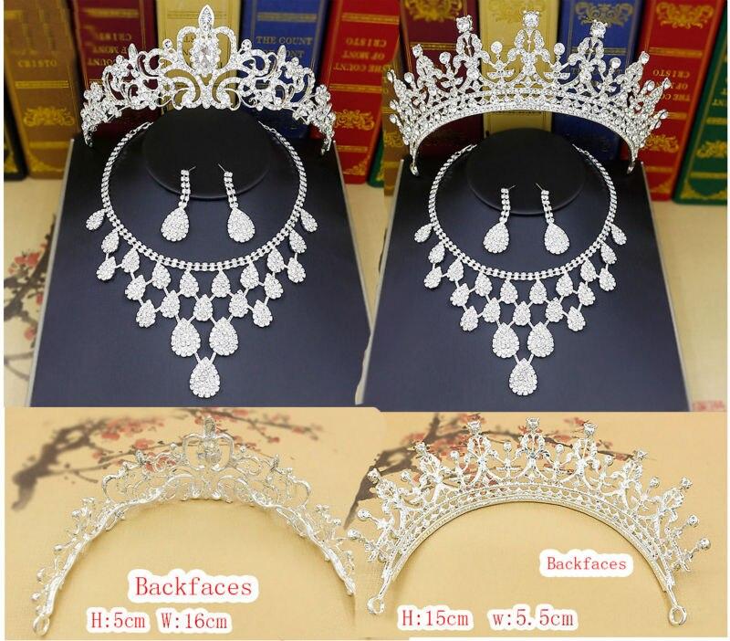 2017 mais estilo de Noiva Conjunto De Jóias de Casamento Strass Tiara Crown Colar Brincos