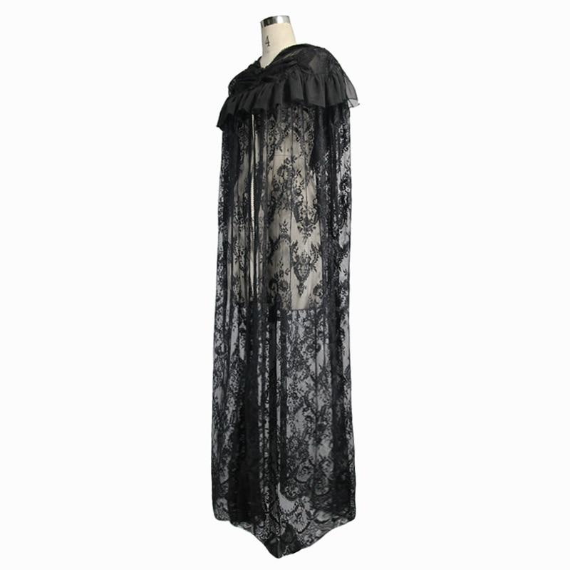 Capuche Point De X Femmes Cape Manteaux À Diable Dentelle Cappa Black Évider longue Falbala Manteau Punk Ouvrir Noir Outwear Mode 4RAjL35