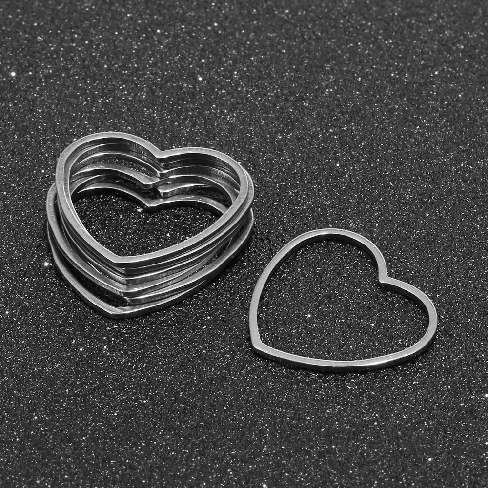 10Pcs/lot Stainless Steel Earring Findings Components Heart Charms Connectors For Bracelet Necklace Earrings DIY Making