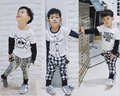 ins* 2016 baby boys cotton T-shirts full sleeve kids autumn tee O-neck letter printed 1-4Y fashion high quality free shipping
