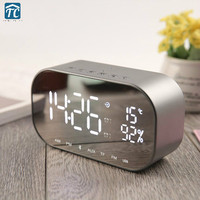 LED Mirror Alarm Clock Digital Snooze Temperature Display Home Decoration Wireless Bluetooth Usb Music Player FM Radio Speaker