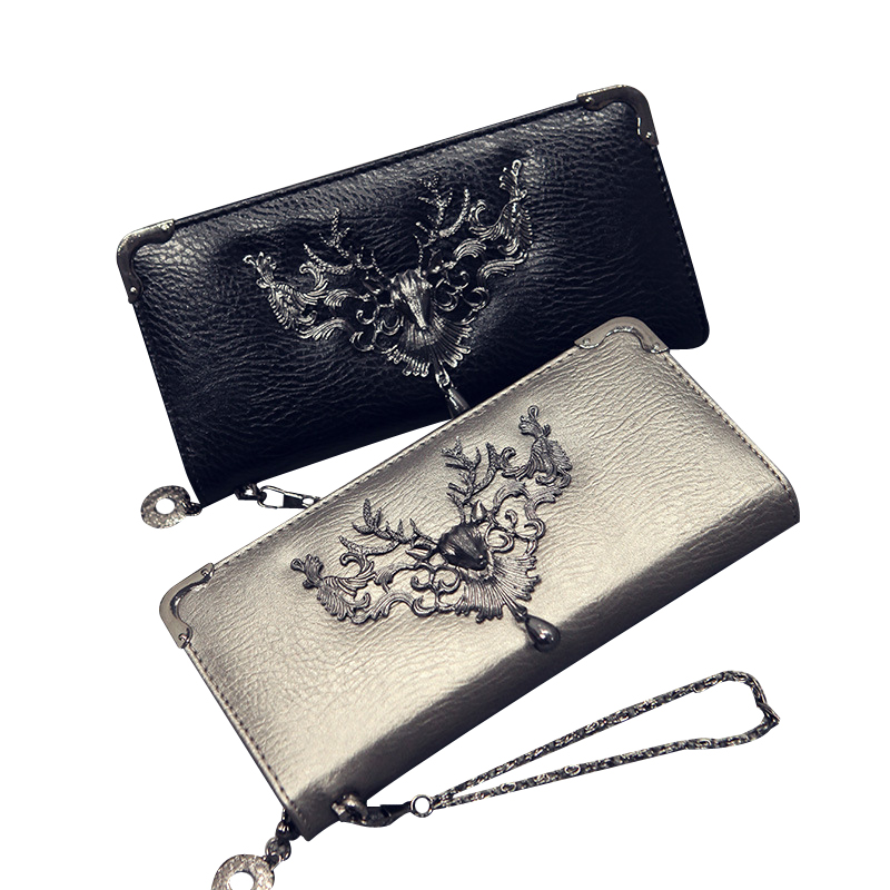 Skull Pattern Leather Women Wallets Long Female Wallet Women Luxury Brand Card Holder Zipper Clutch Coin Purse Moose Money Bags nawo real genuine leather women wallets brand designer high quality 2017 coin card holder zipper long lady wallet purse clutch
