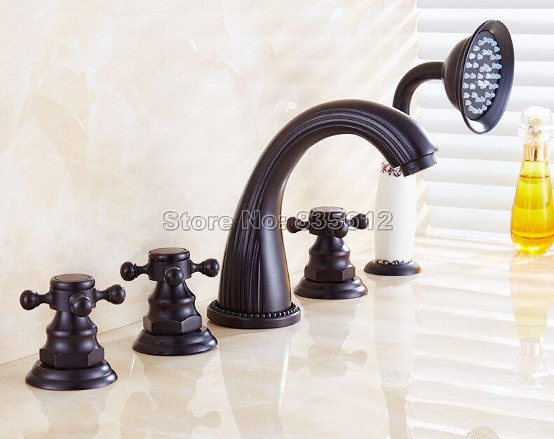 Robinet de baignoire à 5 trous en Bronze huilé noir avec robinet de douche à main pour salle de bain mélangeur d'eau froide et chaude Wtf056