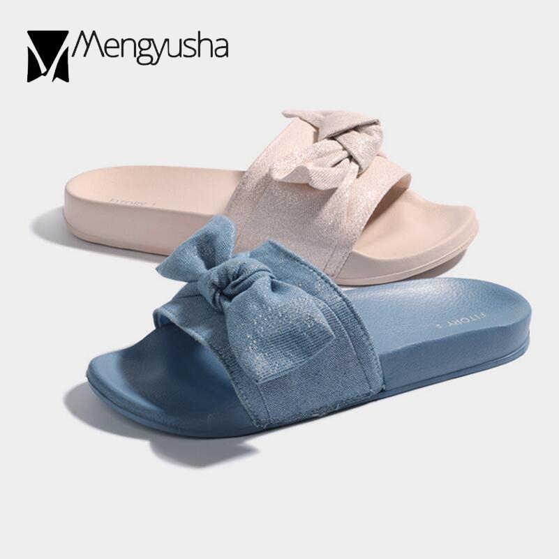 sequined cloth slippers women bowknot lightweight platform sandals denim  blue flip flops ladies home slides soft 252a9f66f680
