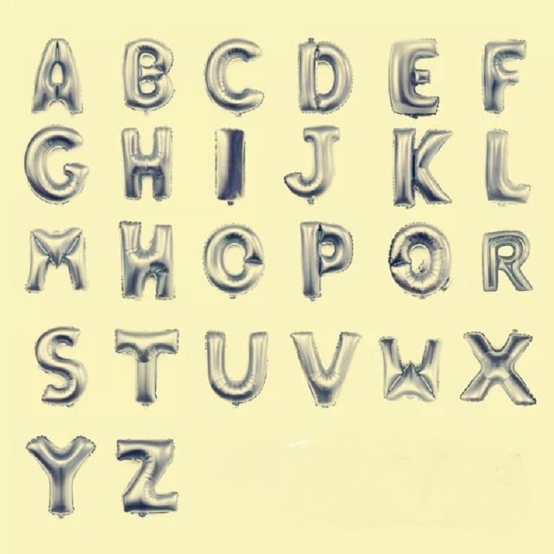 Alphabet Foil Silvers: 1p 30inch Silver Letter Foil Balloon A B C Alphabet Foil