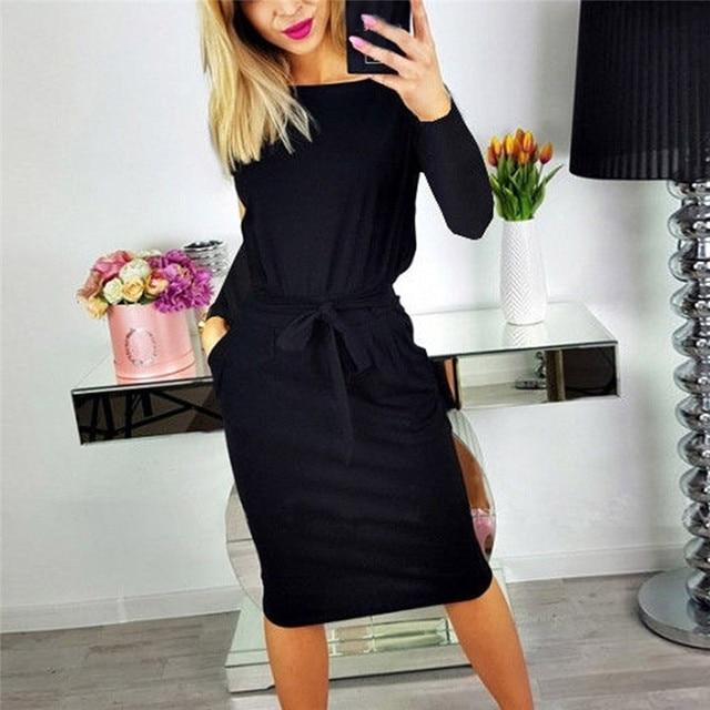 2019 Autumn Winter Dress Women Long Sleeve Black Blue Dress Casual Slim Sashes Midi Cotton Dress Plus Size Fashion Clothing 3XL 4