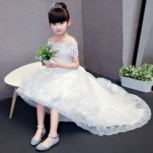 Customized Wedding flower girl dress Princess trailing shoulderless evening dress Piano performance clothes