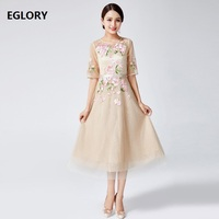 Sexy Sheer Mesh Embroidery Vestidos Wedding Party Bride Mother Women's Dress Mid Calf Length Swing Dress Lady Special Occasion