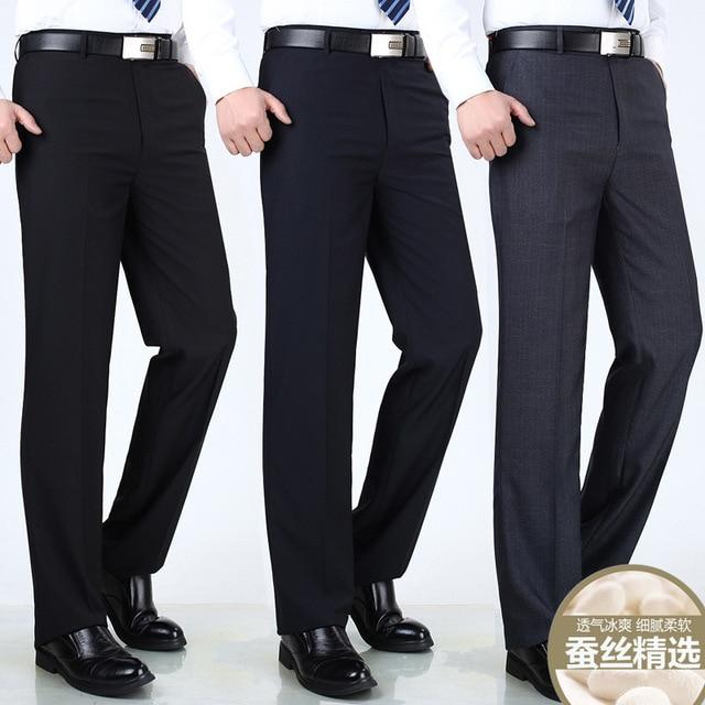 Anti Wrinkle Smooth Silk Suits Pants 1