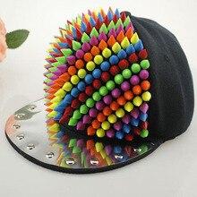 Unisex Spring Summer Colorful Rivet Baseball Caps Professional Punk Mens Studs Hiphop Hats Personality Cap