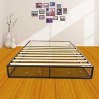 High Quality Simple Basic Iron Bed King Queen Size Metal Platform Bed Frame Wooden Bed Slat Metal Iron Stand Black US Stock