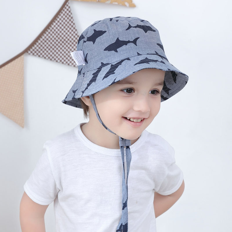 089c53abfdd3b Detail Feedback Questions about Baby Boy Bucket Hat Shark Print Baby Caps  Blower Fishing Hat Baby Sun Hats Chin Strap Kids Panama Hats for Toddler  Boys on ...