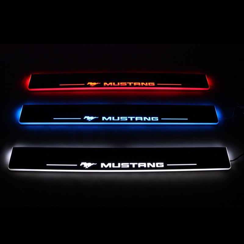 Led Door Sill For Ford Mustang 2017 2016 Moving Light Scuff Plate Welcome Pedal Accessories