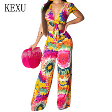KEXU Women Romper New Fashion Floral Print Jumpsuits Sexy Deep V Neck Short Sleeve Playsuits Summer Casual Wide Leg Overalls