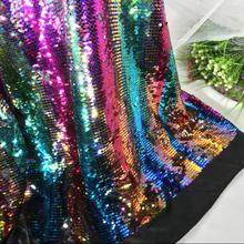 5style 5MM encryption double-sided two-color satin bottom sequin Mesh fabric diy textiles wedding cloth polyester C580